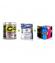Combo Gainer Xs Ronnie + C4 Cellucor + Shaker Super Heroes