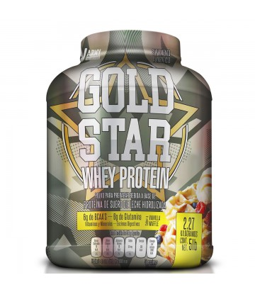 Gold Star Whey Protein 5lbs de Army Nutrition sabor Waffle de Vainilla