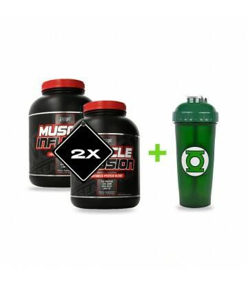 2 Muscle Infusion + 1 Shaker de Superheroes de regalo